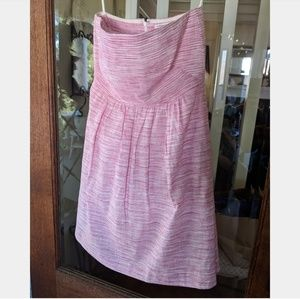 Banana Republic Pink and White Strapless Dress